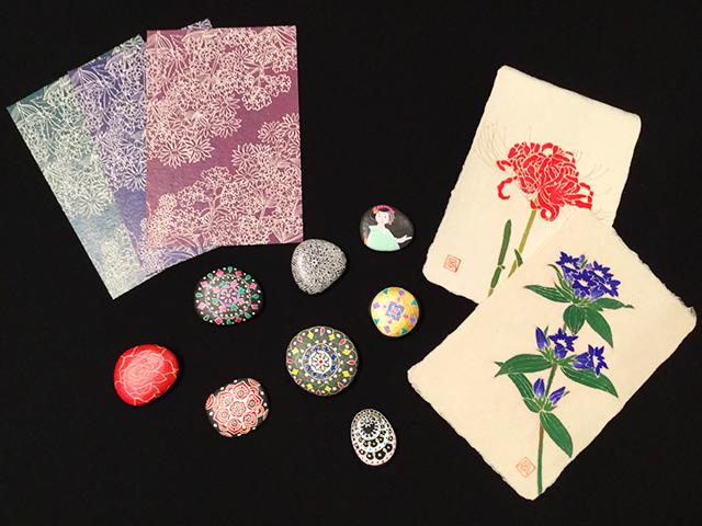 友禅工房 風 友禅和紙・カード・海の硝子や石の加工品